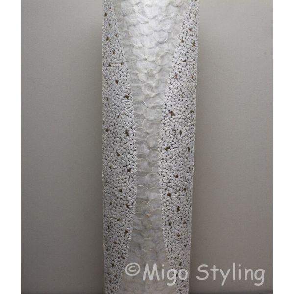 Vloerlamp Capizschelp wit brons ovaal