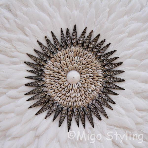 Wanddecoratie met veren Juju Dia 65cm Wit