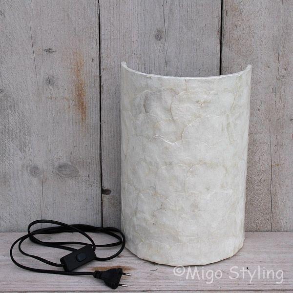 Wandlamp schelp wit