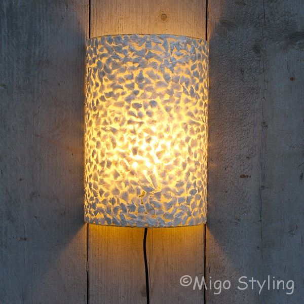 Wandlamp schelp gevlokt wit