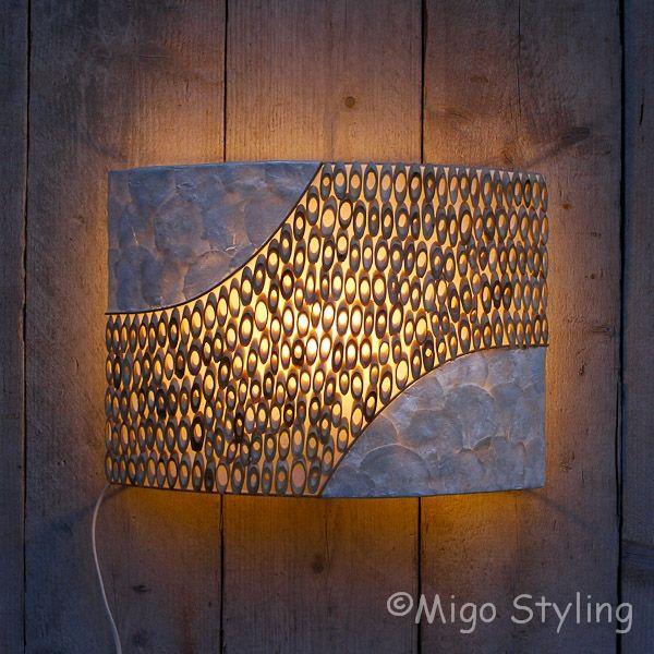 Wandlamp bamboe licht 43 cm breed