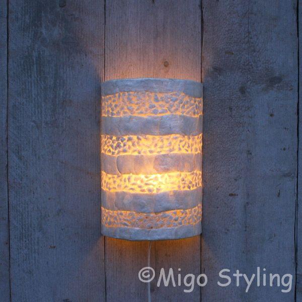 Wandlamp schelp wit gevlokt