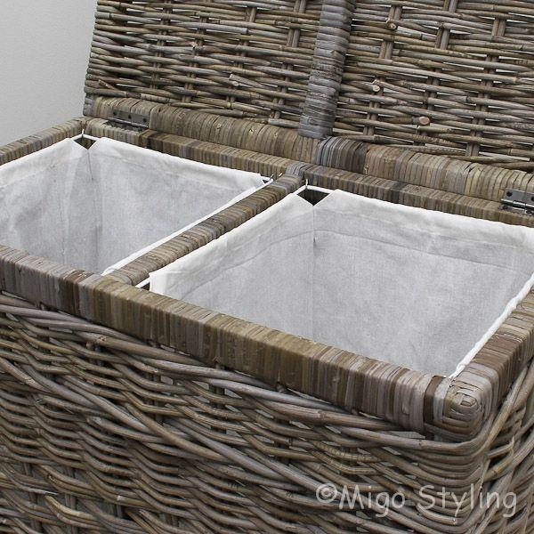 Wasmand duo met sorteervakken grey rotan